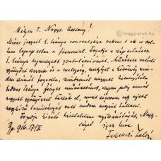 Ferenczi Zoltán (1857-1927) irodalomtörténész, könyvtáros fekete tintával írt, aláírt, sk. sorai