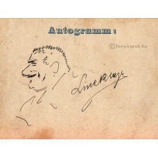 Linek Lajos (1859-1941) festőművész, grafikus eredeti, tussal rajzolt önarckép-karikatúrája