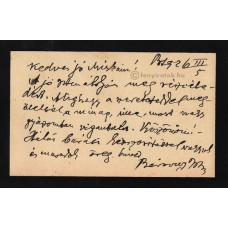 Bársony István (1855-1928) író, újságíró fekete tintával írt, aláírt, sk. sorai
