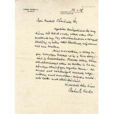 Csánk Endre ((1904-1943) újságíró kék tintával írt, aláírt, sk. levele