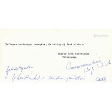 A Magyar Írók Szövetsége géppel írt üdvözlőlapja