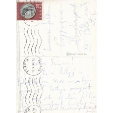Devecseri Gábor (1917-1971) író, műfordító kék golyóstollal írt, aláírt, sk. képeslapja