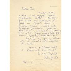 Fodor András (1929-1997) költő kék golyóstollal írt, aláírt, sk. levele