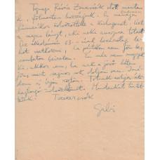 Devecseri Gábor (1917-1971) költő, műfordító kék tintával írt, aláírt, sk. levele