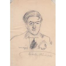 Major Henrik (1890-1948) festő, grafikus, karikaturista eredeti, szignált ceruzarajza