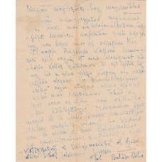 Balázs Béla (1884-1949) író, költő kék tintával írt, aláírt, sk. levele ismeretlennek