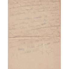 Devecseri Gábor (1917-1971) költő grafitceruzával írt, aláírt, sk. levélfogalmazványa