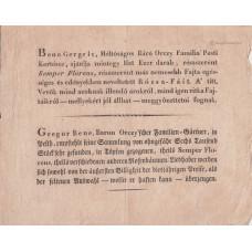 Bene Gergely, a báró Orczy família pesti kertésze rózsa-fák eladását hirdető nyomtatványa