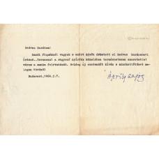 Áprily Lajos (1887-1967) költő, műfordító géppel írt, kék golyóstollal, sk. aláírt levele