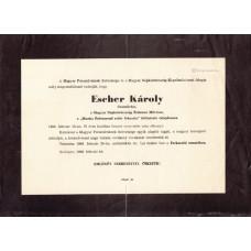 Escher Károly (1890-1966) fényképész, szakíró gyászjelentése