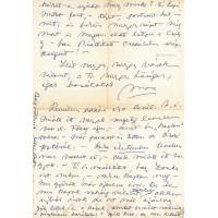 Feszty Masa (1895-1979) festőművész kék golyóstollal írt, aláírt, sk. levele