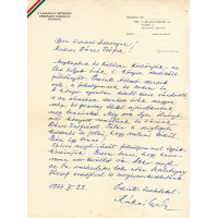 Kállai Gyula (1910-1996) politikus, író, miniszter kék golyóstollal írt, aláírt, sk. levele