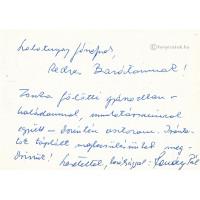 Romány Pál (1929) agrárpolitikus, miniszter kék golyóstollal írt, aláírt, sk. sorai