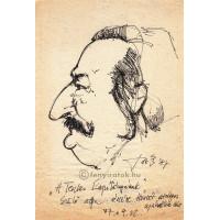Laczky István (1958-) grafikus eredeti, aláírt tollrajza Örsi Ferenc (1927-1994) íróról
