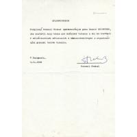 Bohumil Hrabal (1914-1997) cseh író géppel írt, kék golyóstollal, sk. aláírt meghatalmazása