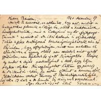 Eckhardt Sándor (1890-1969) irodalomtörténész barna tintával írt, aláírt, sk. levelezőlapja