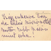 Bethlen Margit, grófnő (1880-1970) író, újságíró lila tintával írt, sk. sorai ismeretlennek