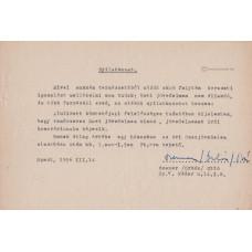 Orbán Ottó (1936-2002) költő géppel írt, kék tintával, sk. aláírt jövedelemigazolása