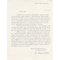 Cs. Szabó László (1905-1984) író géppel írt, fekete golyóstollal, sk. aláírt levele ismeretlennek