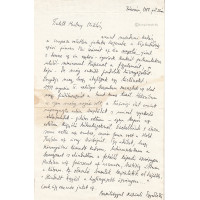 Egyed Péter (1954-2018) költő, író fekete tollal írt, aláírt, sk. levele Hubay Miklós (1918-2011)