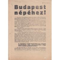 """Szélsőjobboldali röplap """"Budapest népéhez!"""" szövegkezdettel"""