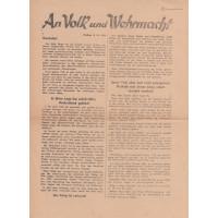 """Szovjet, német nyelvű röplap """"An Volk und Wehrmacht"""" szövegkezdettel"""