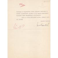 Lukács Béla (1892-1958) politikus, miniszter géppel írt, barna tintával, sk. aláírt levele