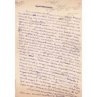 Vajda Ernő (1886-1954) író, újságíró beszédének lila tintával, sk. írt, aláírt, teljes kézirata