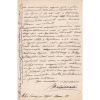 Madách Aladár (1848-1908) költő, író barna tintával írt, aláírt, sk. levele feltehetően Latkóczy