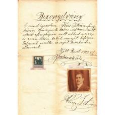 Brahacsek Ede (1886-1966) fényképész barna tintával,  sk. aláírt bizonyítványa